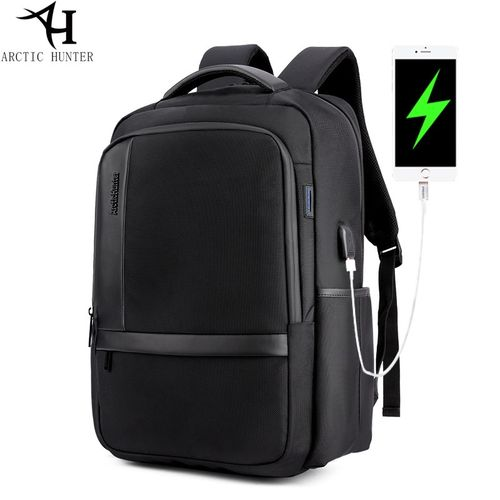 "ARCTIC HUNTER Laptop Backpack,Anti Theft Bag With USB Charging Port For Men & Women, Smart Bag, Water Resistant Backpack School Bag, Large Capacity Business Backpack Fits UNDER 18"" Laptop & Notebook B98- Black"