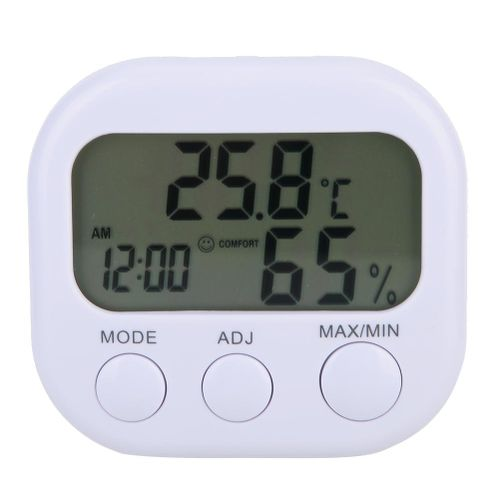 Digital Hygrometer Thermometer Humidity Monitor Gauge With Clock 2-in-1 Monitor Measurement From -10℃-+50℃(+14℉- +122℉)