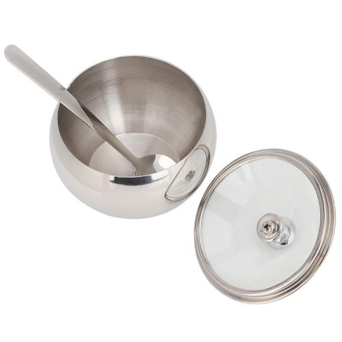Stainless Steel Seasoning Pot With Spoon Seasoning Cans Spice Container Jar Kitchen Supplies