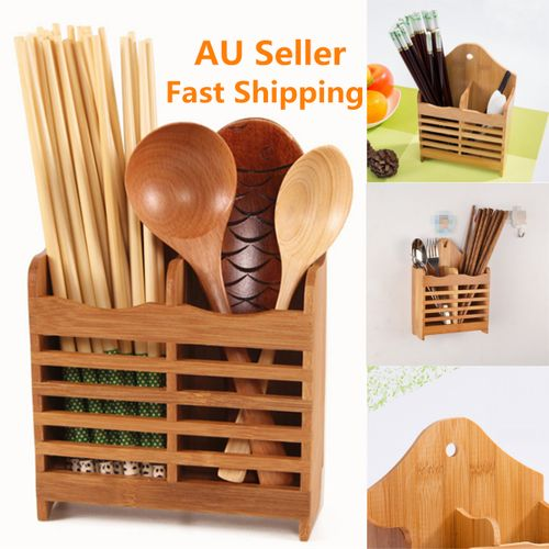 Bamboo Cutlery Holder Drainer Storage Spoon Chopsticks Drying Rack Organizer