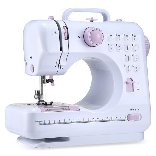 FHSM - 505 Mini Sewing Machine With LED Light Portable Multifunctional Household - EU PLUG