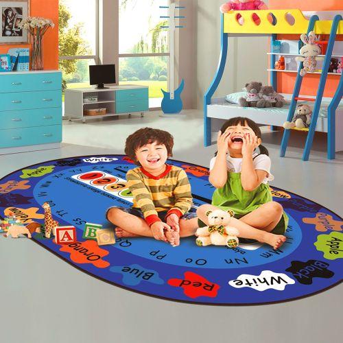 Home Floor Mat Cartoon Lovely Pattern Oval Shaped Antiskid Soft Mat