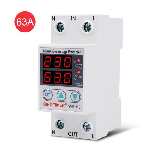 SINOTIMER SVP-916 230V 40A/63A Under/Over Voltage Protector Relay Breaker LED White