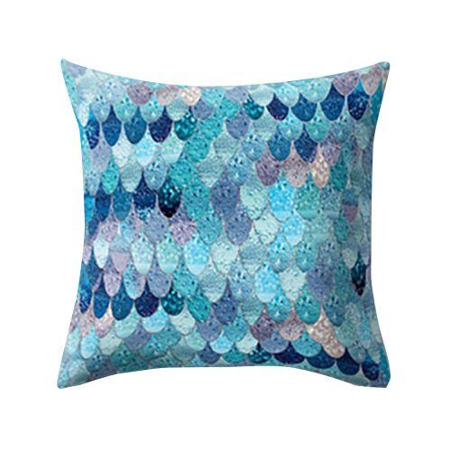 Decor Sofa Cushion Cover Fish Scale Peach Skin Pillow Case