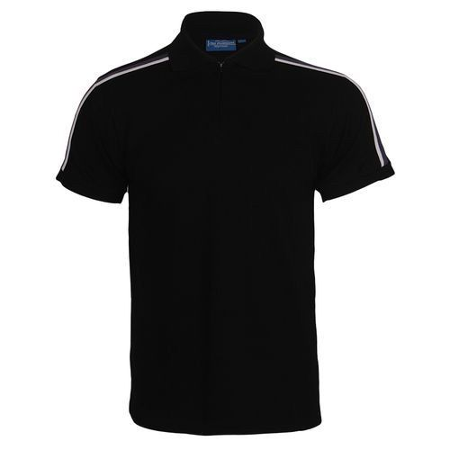 Men Sports Polo Shirt With Zipper NP - Black