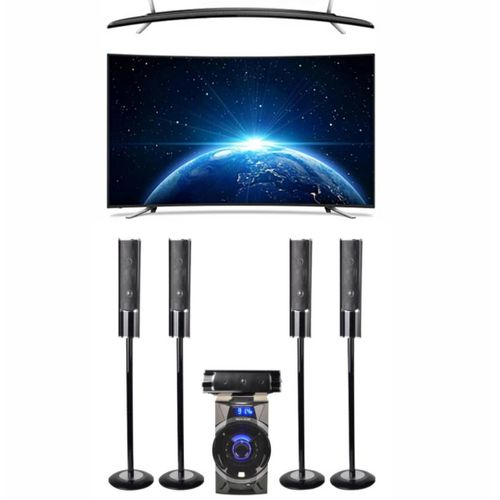 """32""""INCHES FULL HD CURVED TV AND DOLVIN HOME THEATRE 5.1 CH"""