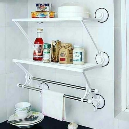 Double Layers Double Rods Shelf With Suction Cup