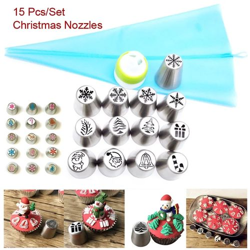 15 Pcs Christmas Nozzles Russian Icing Piping Tips Christmas Design For Cakes Cupcakes Cookies - Decoration Pastry Baking Tools