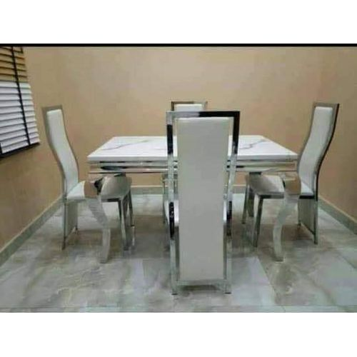 Marble Dinning Set (Table + Dinning Chairs, 1 Center Table)