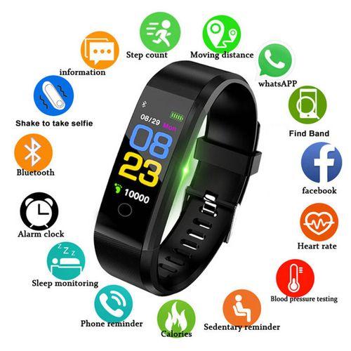 Smart Band Fitness Tracker Wristband Smart Watch(Black)