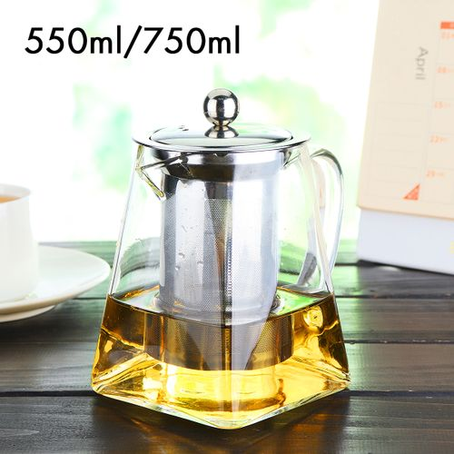 Square Shape Heat Resistant Clear Stainless Steel Filter Glass Teapot Tea