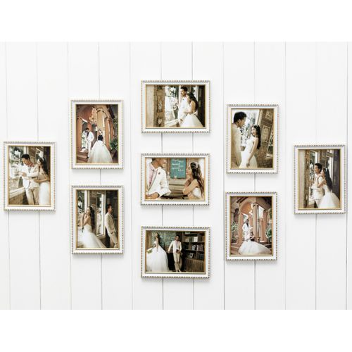 Photo Frame Set 9PCS White+gold