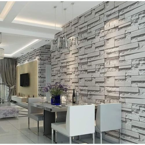 Adore Decor Light Grey Bricks Wallpaper - 5.3 SQM