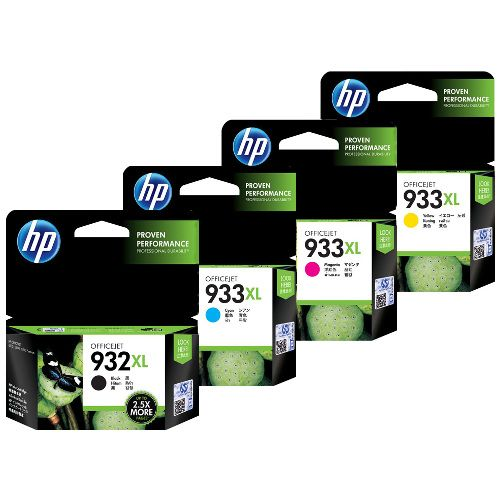 932 Black Ink Cartridge (CN057AE)933 Yellow Ink Cartridge (CN060AN)933 Cyan Ink Cartridge (CN058AN).933 Cyan, Magenta & Yellow Ink Cartridges, 3 Pack (N9H56FN)