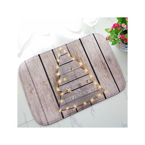 Happy Christmas New Year Lantern Wooden Pattern Absorbent Non-slip Bathroom Mat Home Door Entrance Carpet Rug Decoration