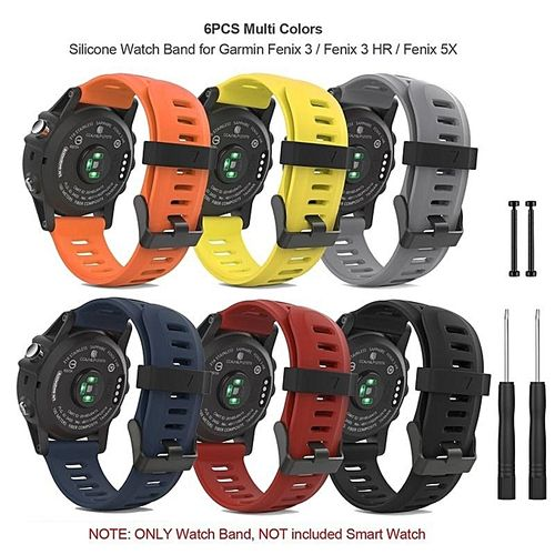 6PCS Soft Silicone Watch Band Strap With Lugs Connector And Screwdriver For Garmin Fenix 3 / Fenix 3 HR / Fenix 5X Smart Watch - Multi Colors FCJMALL