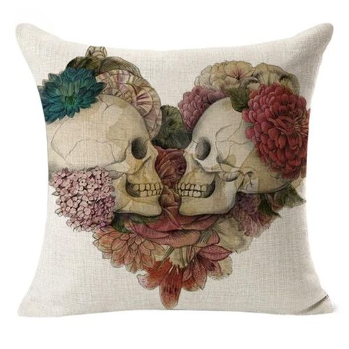Africanmall Store Linen Decorative Cushion Covers Vintage Skull Throw Pillow Cases For Sofa 18''-Blue