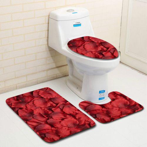 3PCS Non-Slip Bathroom Pedestal Rug+Lid Toilet Cover+Bath Mat - 45*75+35*45+37.5*45