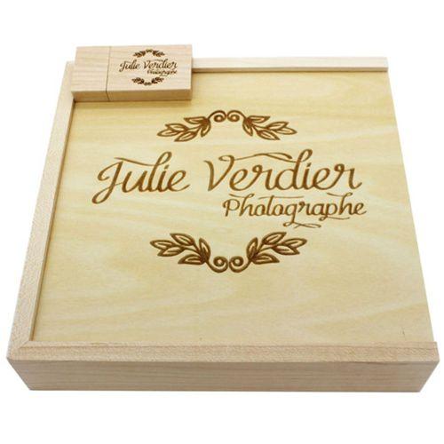 Maple Fleece Photo Album USB Flash Drive Memorable Wedding Photography Gift Wood Color