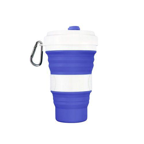 550Ml Silicone Folding Cup Outdoor Portable Telescopic Blue