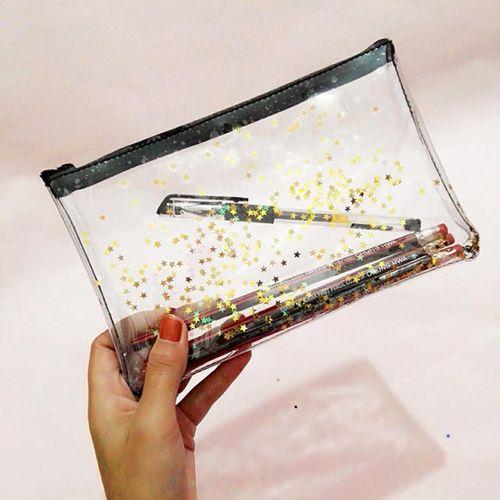 3pcs Transparent Pencil Bag Pencil Stars Case School Stationery Makeup Storage Bag Gold