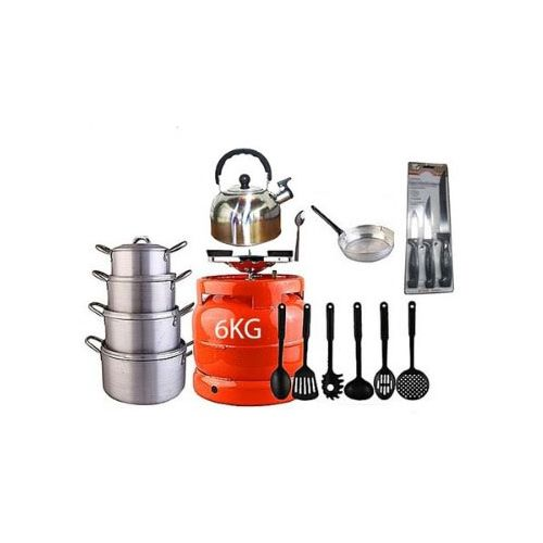 Economy Kitchen Bundle (6kg Gas Cylinder + 4 Pots + 1 Kettle + 1 Frying Pan + 1 Set Of Non-stick Frying Spoons + 1 Small Knife + 1 Set Of Table Spoons)