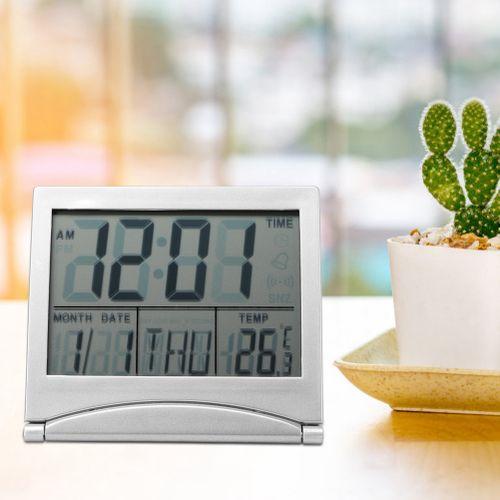 1Pc Portable Folding Travel Digital LED Alarm Clock Temperature Calendar Snooze