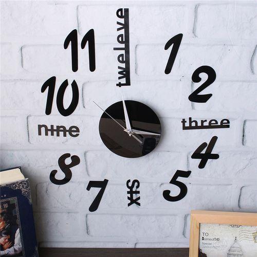 Modern DIY Large Wall Clock 3D Mirror Surface Sticker Home Decor Art Design LP
