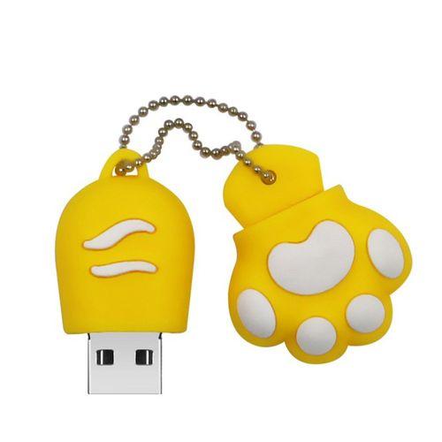USB 2.0 Flash Drive Cute Animal Cat Paw Shape Thumb Drives Yellow Yellow