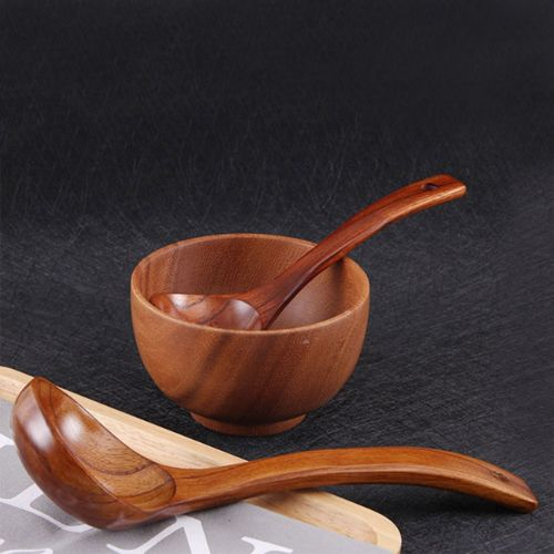 Natural Wooden Spoon Portable Rice Soup Kitchen Tool For Seasoning Dessert Healthy Wood Spoon Children Tableware Utensil