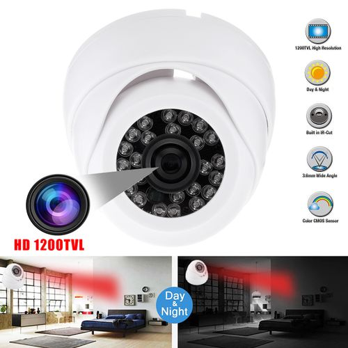 3.6MM HD 1200TVL CCTV Camera Security Dome 24 IR Night Vision Outdoor