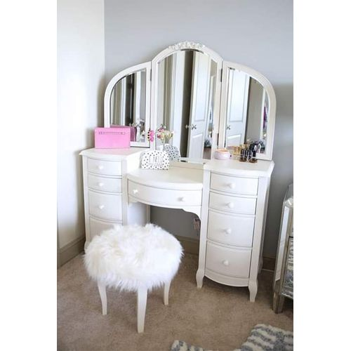 Cherrie Mirror Stand With Fur Seater-Free Lagos Delivery