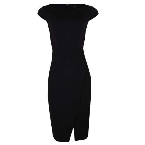 Cap Sleeve Fitted Corporate Wrap Dress - Black