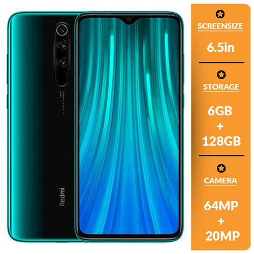 Redmi Note 8 Pro 6.53 Inches 6GB RAM +128GB ROM (64MP+20MP Camera) - Hybrid Dual Sim - Forest Green