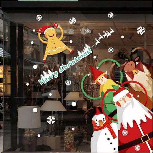 New Year Christmas Glass Wall Window Sticker Santa Claus Snowflakes Wall Sticker Gifts Christmas Decoration Home