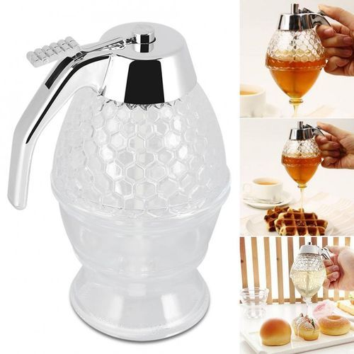 200ml Honey Syrup Dispenser Glass Pot Vintage No Drip Container- Silver