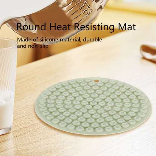 14.5cm Waterproof Stain Resistant Anti-Wrinkle Round Shape Heat Resistant Silicone Mat Non-slip Pot Table Placemat