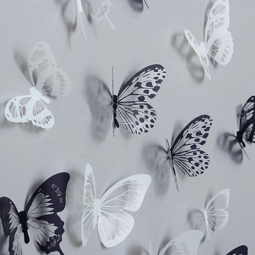 18Pcs 3D Black And White Butterfly Stickers