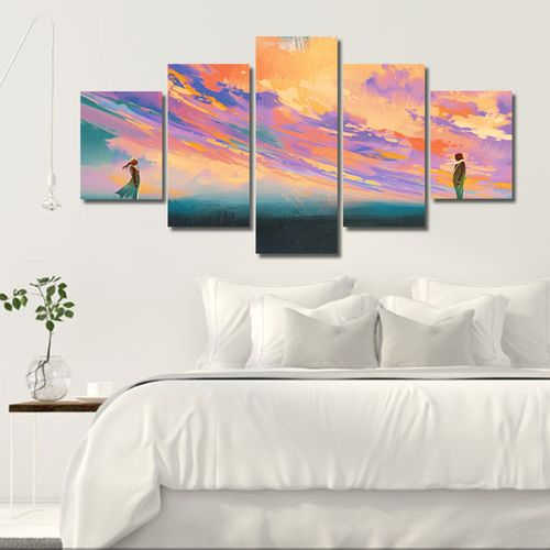MT 11471 5 Couples In The Sunset Against Men And Women Painting Frameles Painting-multicolor-S