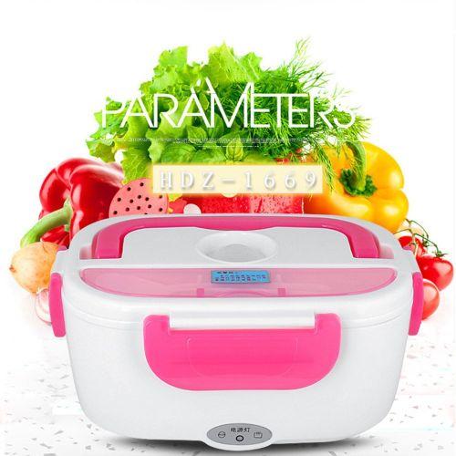 Portable Electric Heated Car Plug Heating Lunch Box Bento Travel Food Warmer 12V Pink