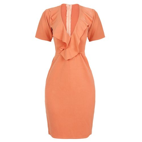 Kira Wrap Frill Bodycon Dress - Peach
