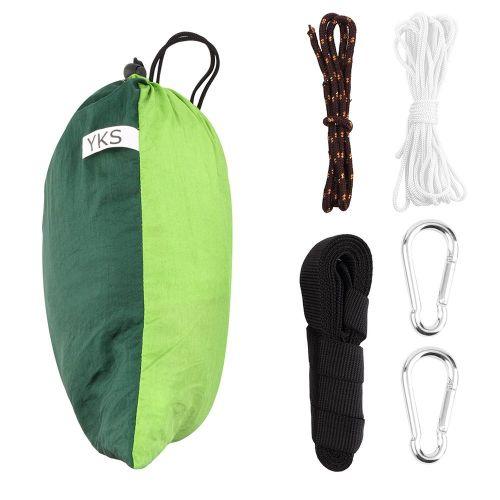 Portable Nylon Hammock With 330 Pounds Maximum CapacityWith 2 Hooks,Stripes Green