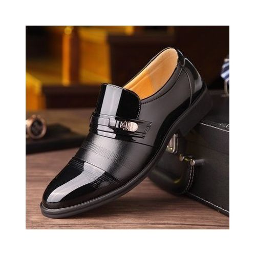 Mens Formal Shoes Breathable Slip On Leather Shoes Black