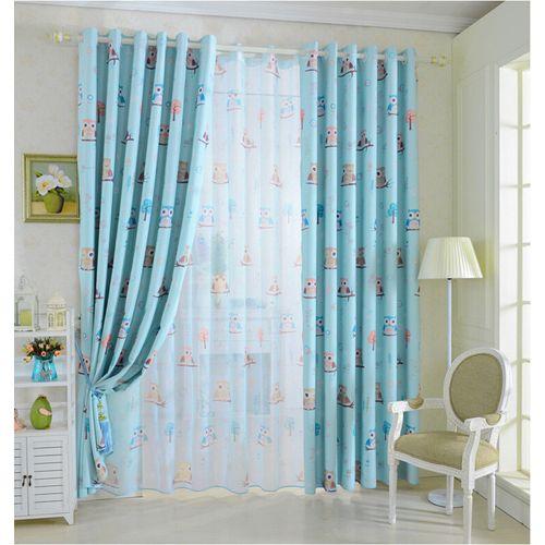 2pcs 100*250cm High Shading Curtain Owl Cartoon Curtains Window Scarf Drapes Living Room Kids Children Bedroom Study