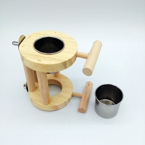 Bird Parrot Wooden Feeder Food Container Box Bird Stand Support Platform Toys