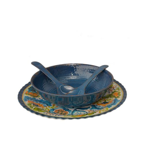 Serveware 4 Piece Tuscan Print Platter With Rustic Styled Bowl And Fork And Spoon - Blue