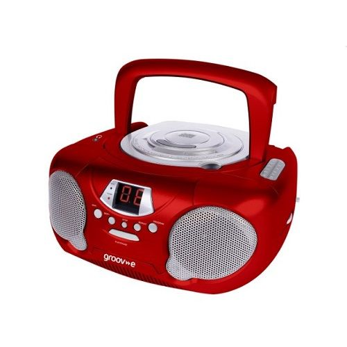 Boombox Portable CD Player With Radio & Headphone Jack - Red