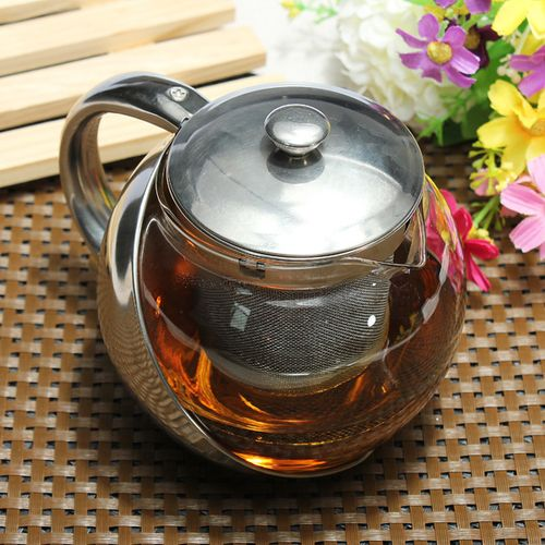 Modern Stylish Stainless Steel & Glass Teapot & LOOSE TEA LEAF INFUSER TEA POT !