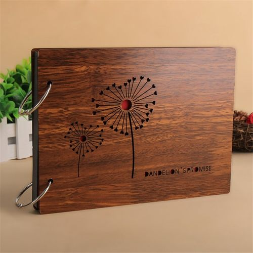 Photo Albums 8 Inch Hot Red Wood Cover Albums Personalized Baby Lovers DIY Photo Album