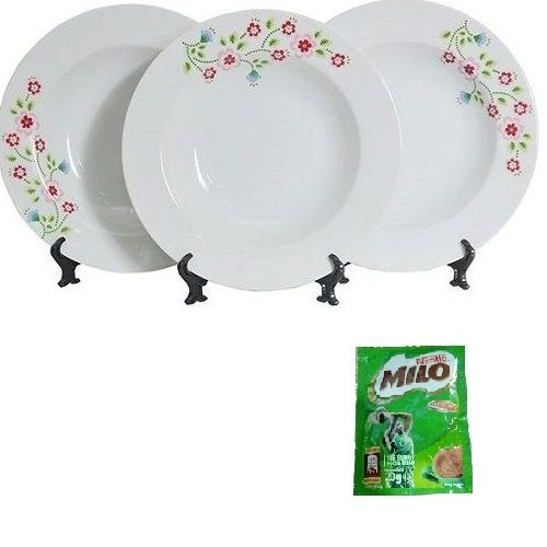 Premium 3Pcs Soup Plate Set - Pink Lady